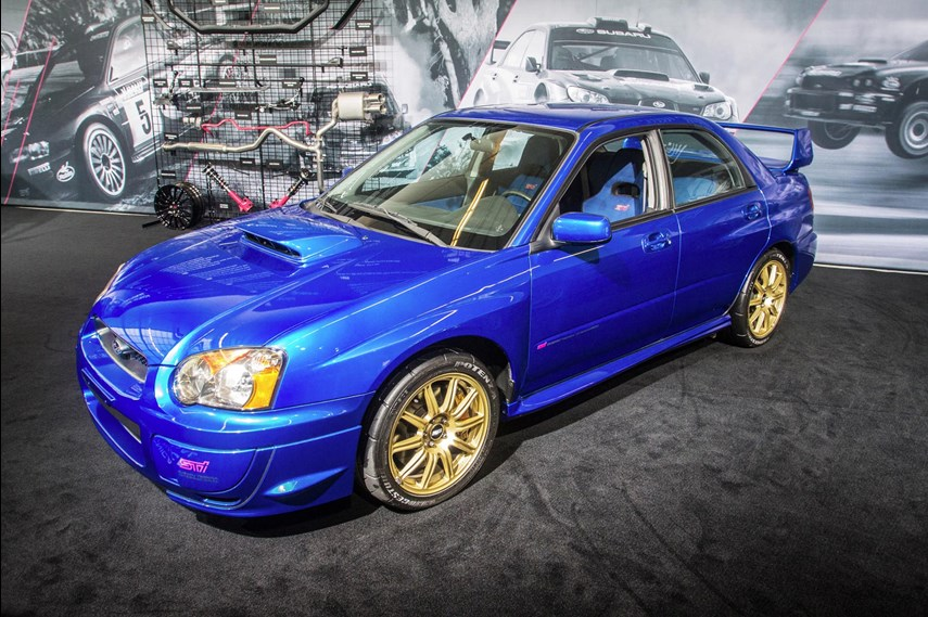 Pity anyone who bought a 2003 WRX new and tried to turn it into an STI: just one year later Subaru came out with a fully-fledged STI for our shores. Fitted with a turbocharged 2.5L motor, our version of the STI was a torque monster, and had better differentials, forged BBS wheels, a stout six-speed manual transmission, and a unique interior.