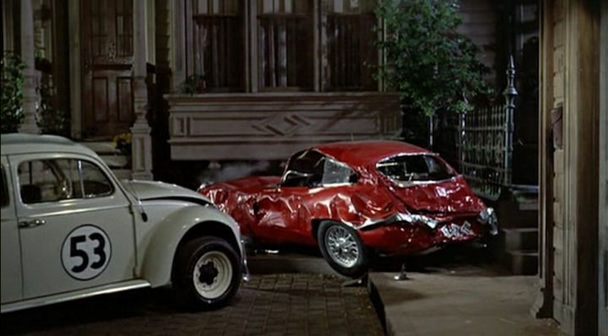 This is kind of a tough one. While it was technically the Lamborghini that made Herbie's oil boil when Jim traded him for it, the car that emerges after Herbie beats the hell out of it is actually an XKE, probably because smashing up the rarer Lambo was either too expensive, or Lamborghini's lawyers would have none of it.<br /><br><br><br />Still, it's the arrival – and subsequent beating – of this car that you can say adds to Herbie's resolve to win the El Dorado Rally, which is why it belongs on this list.